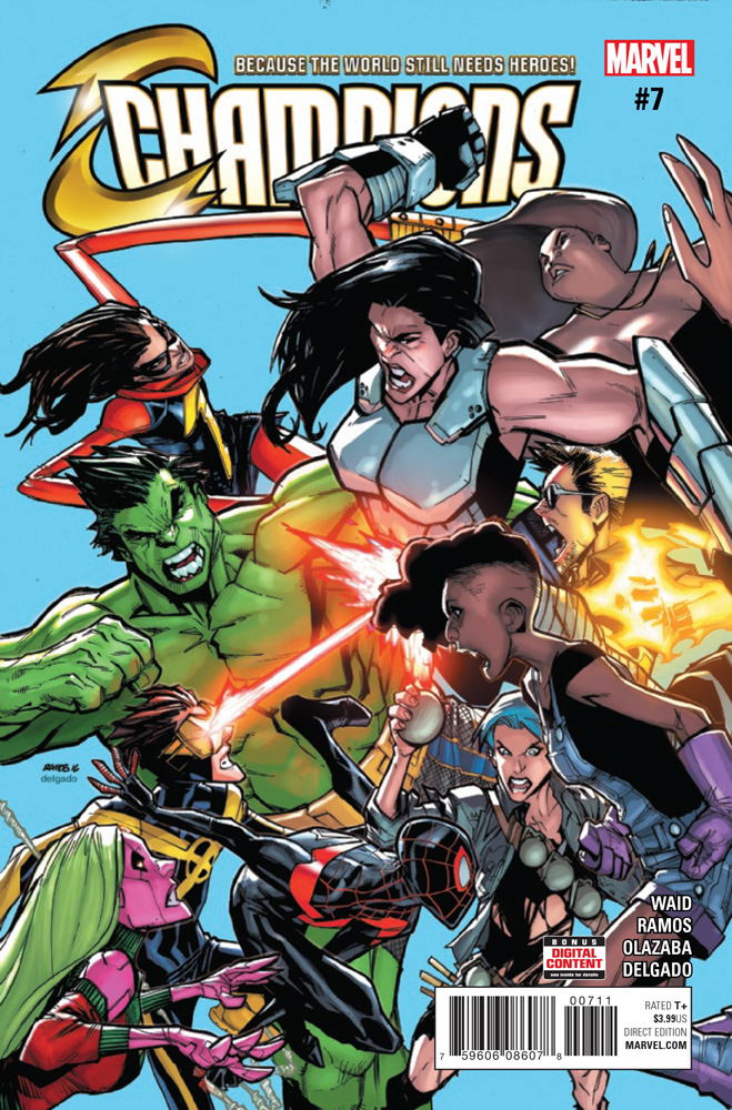 The Champions take on the Freelancers on the cover of Champions #7