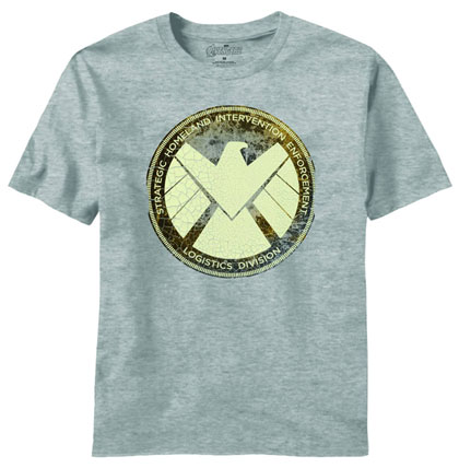 Image: Avengers Movie: Aged Shield PX T-Shirt Heather  (XL)