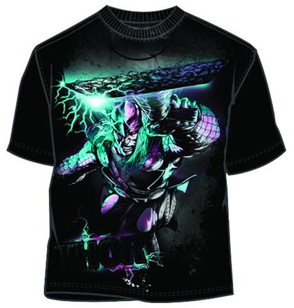 Image: Thor: Hammer Lunge Black T-Shirt  (M) - Mad Engine
