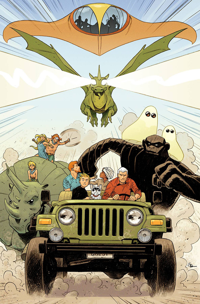 Team Quest (in the jeep) lead the charge on the cover to Future Quest #9