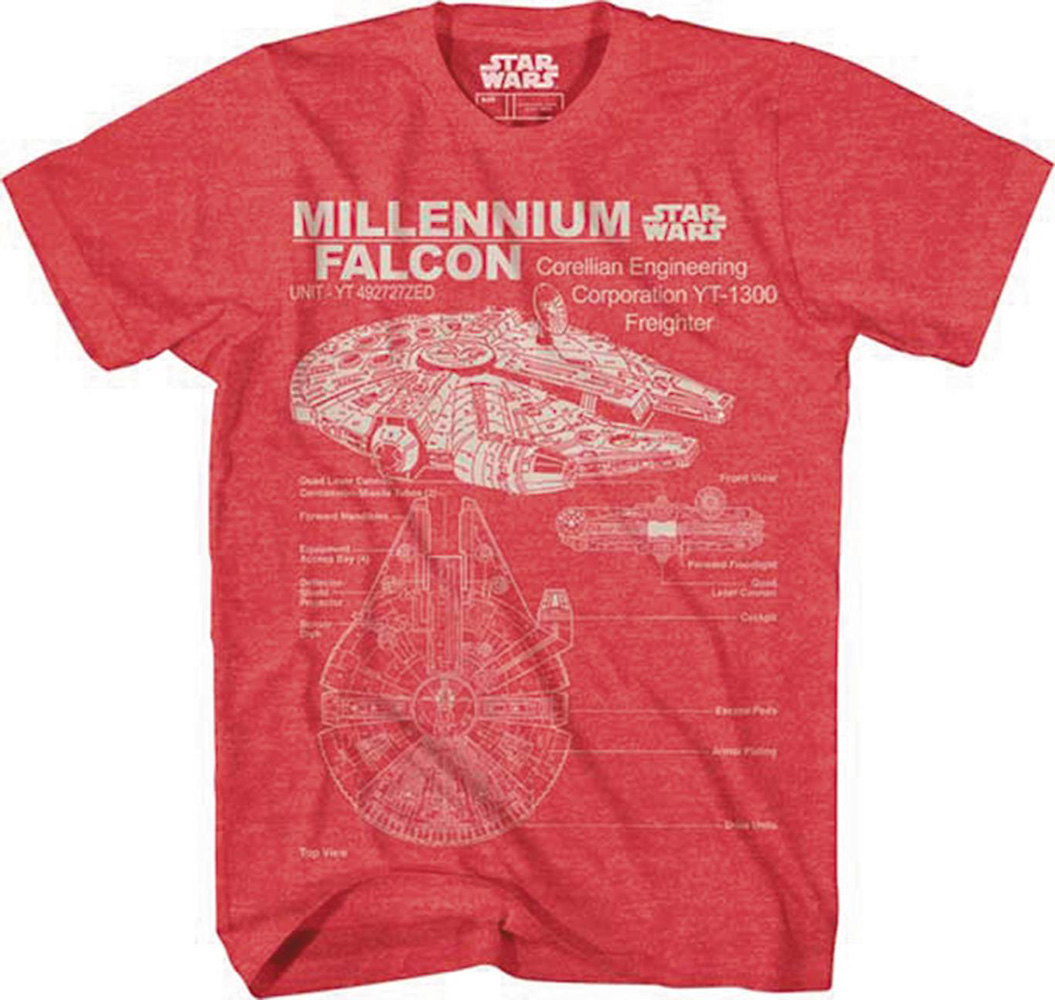 Image: Star Wars T-Shirt: Corellian Freighter [Heather Red]  (S) - Mad Engine
