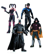 Image: Batman: Arkham City Action Figure 4-Pack - Robin, Harley Quinn, Batman & Nightwing  - DC Comics