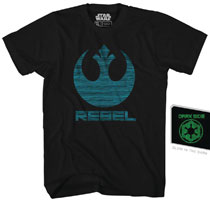 Image: Star Wars T-Shirt: Double Agent [Black Glow-in-the-Dark]  (L) - Mad Engine