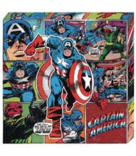 Image: Marvel Metallic Canvas Art: Captain America Action  - Cohen Hazan Group LLC