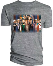 Image: Doctor Who T-Shirt: All Doctors Oval Line Up Sport [Grey]  (XL) - Titan Books Uk