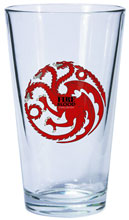 Image: Game of Thrones Pint Glass: Targaryen Sigil  - Dark Horse Comics
