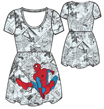 Image: Marvel Dress: Spidey - Action Toss  (XL) - Mighty Fine