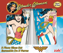 Image: Wonder Woman Classic Glass Tumbler 2-Piece  (16-ounce) (Window Box) - Zak Designs