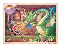Image: Melissa & Doug Jigsaw Puzzle: Knight vs. Dragon  (48-Piece) - Melissa & Doug, LLC