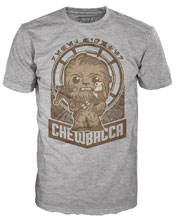 Image: Pop! Tees Star Wars Youth T-Shirt: Chewie Millenium Falcon [Grey]  (M) - Funko