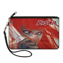 Image: Red Sonja Wallet: Face Sword Close Up  (Canvas Zipper) - Buckledown, Inc