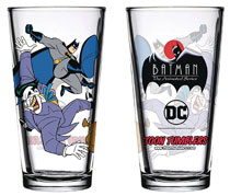 Image: Batman Animated Series Pint Glass: Batman & Joker  - Popfun Merchandise