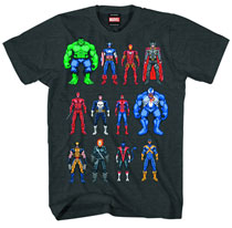 Image: Marvel Heroes: Twelve Up T-Shirt [Charcoal Heather]  (XL) -