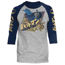 Image: DC Batman Raglan: Japanese Knight [Heather/Navy]  (XXL) - Trevco Sportswear
