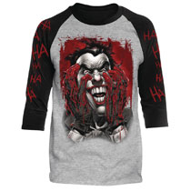 Image: DC Batman Raglan: Blood on Hands [Heather/Black]  (S) - Trevco Sportswear