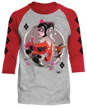 Image: DC Batman Raglan: Harley Q [Heather/Red]  (XL) - Trevco Sportswear