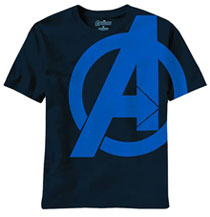 Image: Avengers Movie: Solid Shield T-Shirt Navy  (M)
