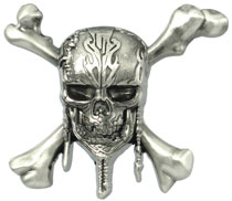 Image: Pirates of the Caribbean: Dead Men Tell No Tales Deluxe Pewter Lapel Pin - Skull  - Monogram Products