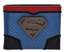 Image: Superman Wallet: Domed Metal Badge  (Carbon Fiber) - BioWorld