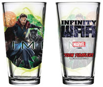 Image: Avengers: Infinity War Pint Glass: Black Panther / Doctor Strange  - Popfun Merchandising