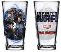 Image: Avengers: Infinity War Pint Glass: Captain America / Falcon / Winter Soldier  - Popfun Merchandising
