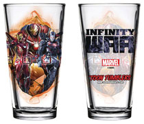 Image: Avengers: Infinity War Pint Glass: Iron Man / War Machine  - Popfun Merchandising