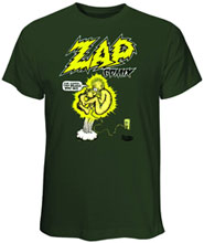 Image: Zap Comix: Plugged in Military Green T-Shirt  (L) -