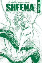 Image: Sheena #1 (variant cover - Campbell Jungle Green Premium) - Dynamite
