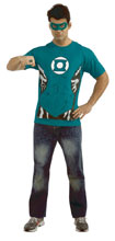 Image: DC T-Shirt w/Mask & Ring: Green Lantern  (XL) - Rubies Costumes Company Inc