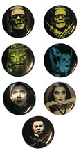 Image: Classic Horror 1-inch Pin 12-Piece Assortment  - Rock Rebel