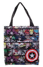 Image: Marvel Packable Tote: Comic Print & Captain Amercia Shield  - Bioworld Merchandising