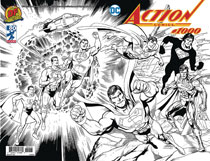 Image: Action Comics #1000 (DFE signed - Jim Lee Gold) (B&W wraparound) - Dynamic Forces