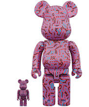 Image: Keith Haring Bearbrick: 100 & 400 #2  (2-Pack) - Medicom Toy Corporation