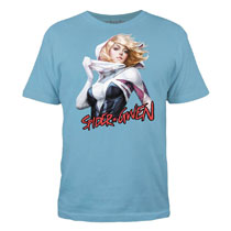 Image: Spider Gwen T-Shirt: Unveiled [Light Blue]  (XL) - Mighty Fine