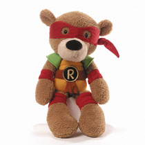 Image: Teenage Mutant Ninja Turtle Fuzzy Bear Plush: Raphael  - Enesco Corporation