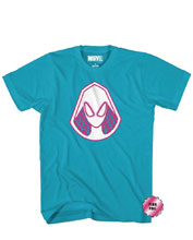 Image: Marvel T-Shirt: Gwen Hood Pink Foil [Turquoise]  (XL) - Mad Engine