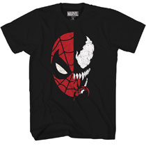 Image: Marvel T-Shirt: Spidey Venom Split [Black]  (XL) - Mad Engine