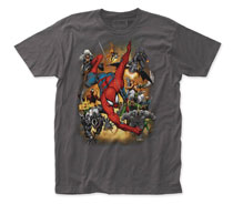 Image: Spider-Man T-Shirt: Villains Attack [Charcoal]  (M) - Impact Merchandising