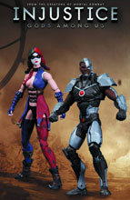Image: Injustice: Gods Among Us Action Figure 2-Pack - Cyborg vs. Harley Quinn  - DC Direct