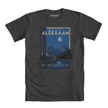 Image: Star Wars T-Shirt: Alderaan by Moonlight [Charcoal]  (M) - Mighty Fine