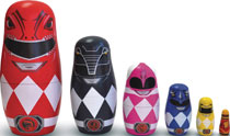 Image: Saban's Power Rangers 6 Piece Real Wood Nesting Dolls Set  - Ppw Toys