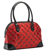 Image: Lucy Quilted Red Handbag  (w/Spider Hardware) - Rock Rebel