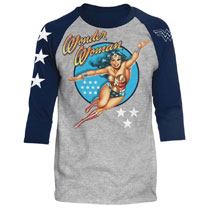 Image: DC Raglan: Wonder Woman Vintage [Heather/Navy]  (XXL) - Trevco Sportswear