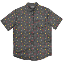 Image: Marvel T-Shirt: Deadpool Party - Charcoal Button Up  (XL) - Mad Engine
