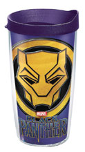 Image: Marvel Tumbler: Black Panther  (w/Purple Lid) (16-ounce) - Tervis Tumbler Co.