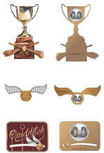 Image: Harry Potter Lapel Pin Set: Quidditch  (3-Piece) - Bioworld Merchandising