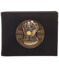 Image: Marvel Bi-Fold Wallet: Infinity Gauntlet Metal Badge  - Bioworld Merchandising