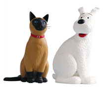 Image: Tintin Resin Figure: Snowy & Cat of Marlinspike