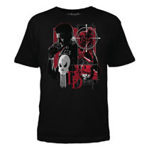 Image: Daredevil / Punisher T-Shirt: Square Off [Black]  (XL) - Mighty Fine