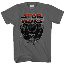 Image: Star Wars T-Shirt: Circle Space [Charcoal]  (XL) - Mad Engine